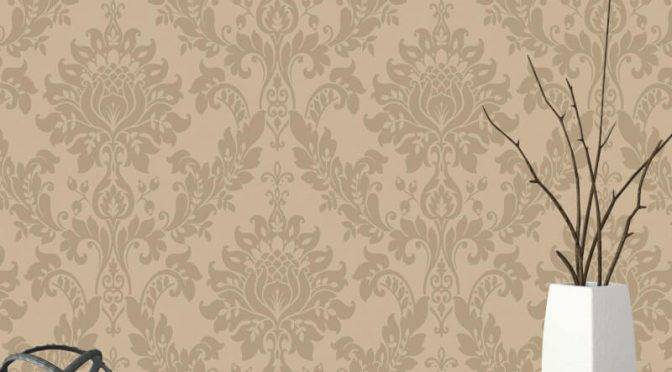 Clara Damask Sand Metallic Glitter Wallpaper