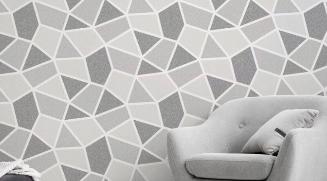 Crown Arendal Geometric Mono/Grey Metallic Wallpaper