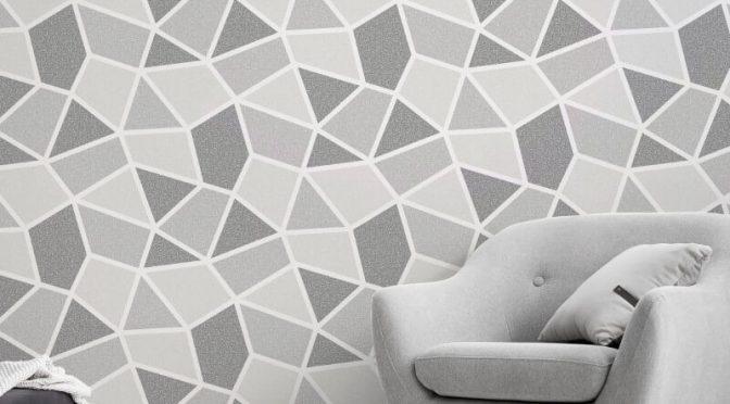 Crown Arendal Geometric Mono Grey Metallic Wallpaper
