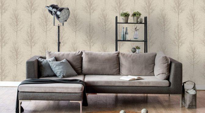 Holden Decor Hadrian Tree Taupe Metallic Glitter Wallpaper