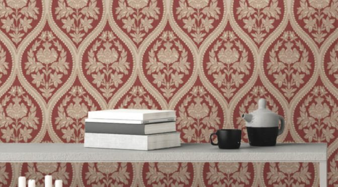 Holden Decor Pienza Damask Red Metallic Glitter Wallpaper