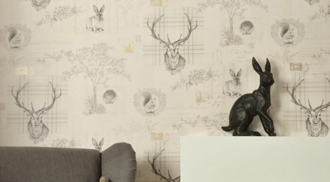 Holden Decor Richmond Highland Stag Beige/Charcoal Wallpaper