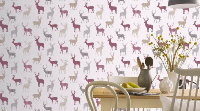Arthouse Country Stag Red/Cream Wallpaper