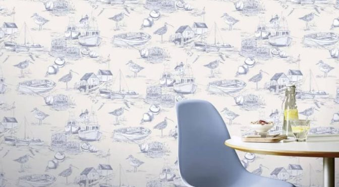Arthouse Curlew Bay Birds Boats Blue Wallpaper