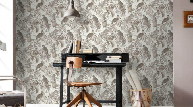 Erismann Birds of Paradise Brown/Cream Wallpaper