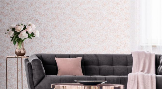 Muriva Stella Speckle Effect Pearl/Rose Gold Metallic Wallpaper