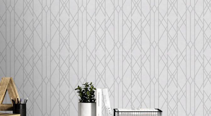 Rasch Gemini Linear Geo Grey/Silver Metallic Wallpaper